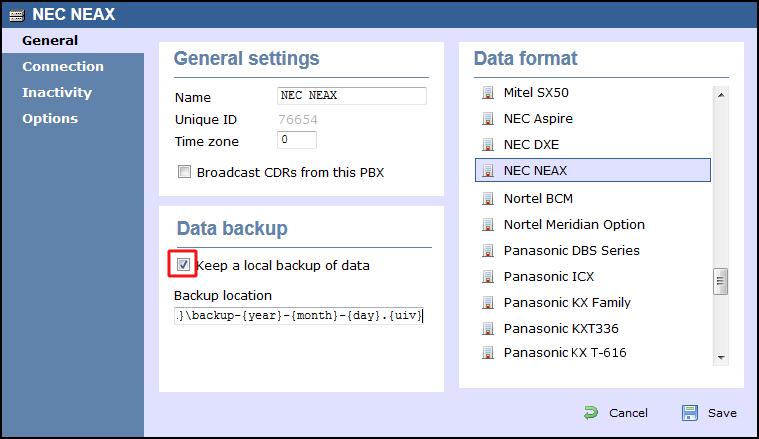 NEC NEAX - Serial connection - TIM Enterprise - Documentation